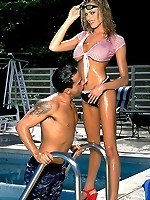 Out by the pool this hot babe gets fucked hard by her studly boyfriend